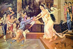 Returning home, Krsna and Balarama Were received by Their affectionate mothers