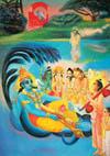 Akrura saw Balarama turned into Sesa Naga and Krsna turned into Maha-Visnu.