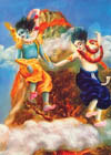 Krsna and Balarama jumped from the top of the mountain.