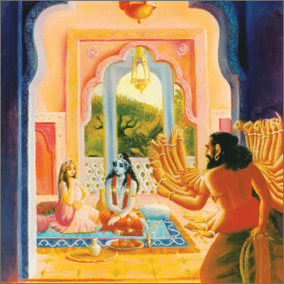 When Banasura saw him, Aniruddha was engaged in playing with Usa.