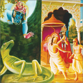 The demigod was obliged to accept the body of a lizard.
