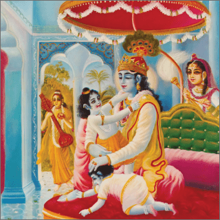 This time, Narada Muni saw that Lord Krsna was engaged as an affectionate father petting His small children.