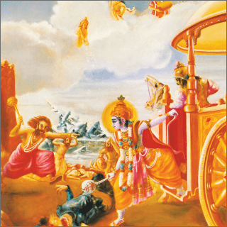Krsna cut off Salva's head, and the head, with earrings and helmets, fell on the ground.