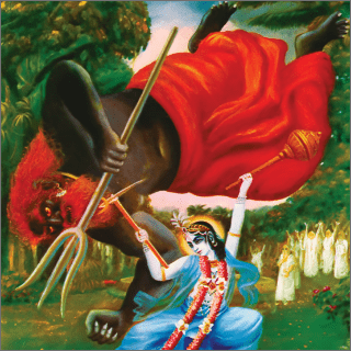 At the first opportunity Balarama dragged the demon down with His plow.