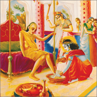 The women in the palace were surprised to see that the poor Brahmana was seated on the bedstead of Lord Krsna.