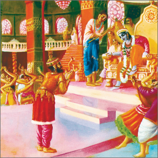 Lord Krsna immediately stood up along with His ministers and secretaries to receive the great sage Narada Muni.