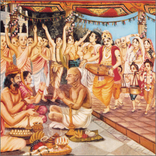 The joyous vibrations at Krsna's birth ceremony could be heard in all the pasturing grounds and houses.