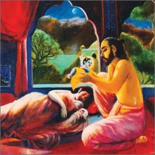 Vasudeva silently entered the house and exchanged his son for the girl.