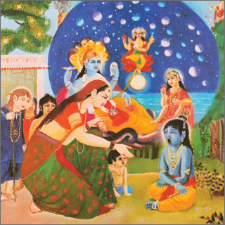 Mother Yasoda saw within the mouth of Krsna the whole sky, including all the luminaries, stars and all directions.
