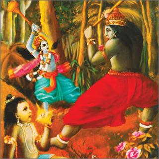 Krishna and Jambavan fought like two opposing vultures.