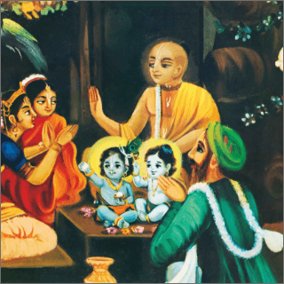 The family priest, Gargamuni, performed the name-giving ceremony when Krsna was one year old.