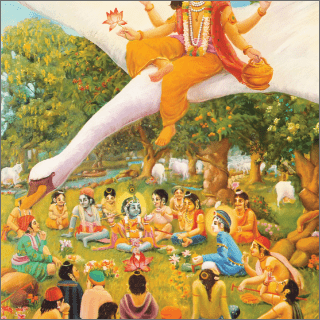 Seeing Krsna enjoying with His cowherd friends, Lord Brahma decided to play a trick.