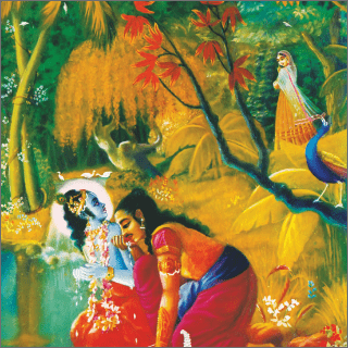 While Krsna and Arjuna were resting and drinking water, they saw a beautiful girl of marriageable age walking alone at the bank of the Yamuna.