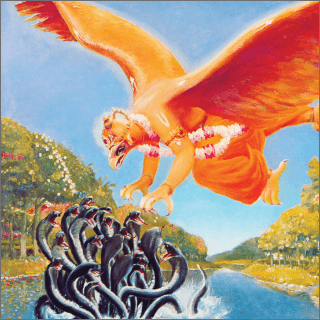 Garuda struck the body of Kaliya with his effulgent golden wings.