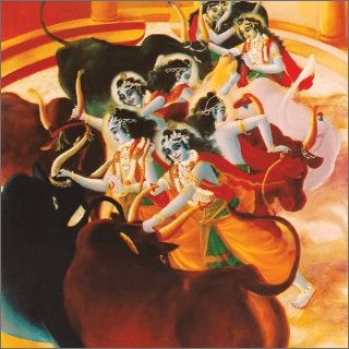 Krsna pulled them strongly, just as a child pulls a toy wooden bull.
