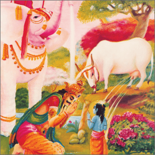 King Indra from the heavenly planet appeared before Krsna from a secluded place .