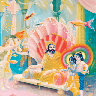 The god of the waters was holding Nanda captive underneath the sea.