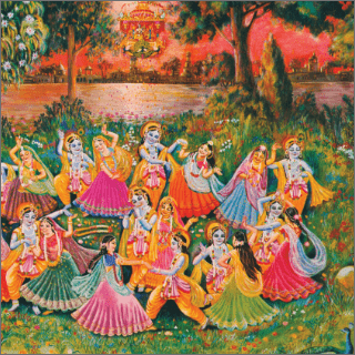 It appeared that Krsna was a greenish sapphire locket in the midst of a golden necklace .