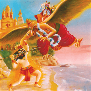 Lord Krsna saw that the trident of the Mura demon was gradually rushing toward His carrier, Garuda.