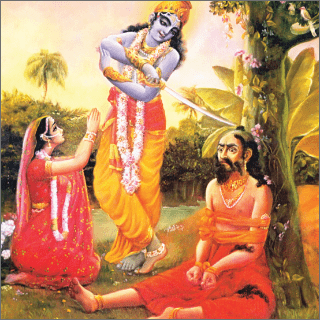Rukmini was praying to Krsna for the life of her brother.