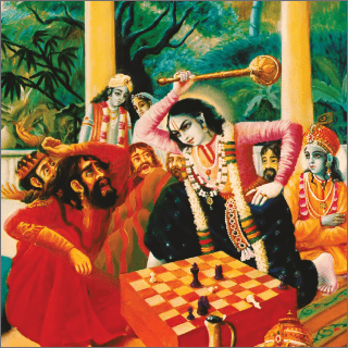 Balarama took  a club in His hand and without further talk struck Rukmi on the head.